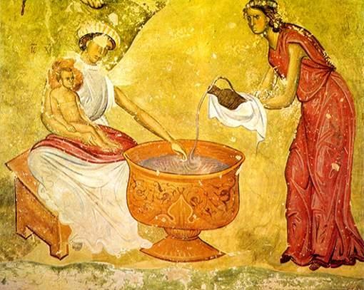 Рождество Христово, фреска у Манастиру Сопоћани