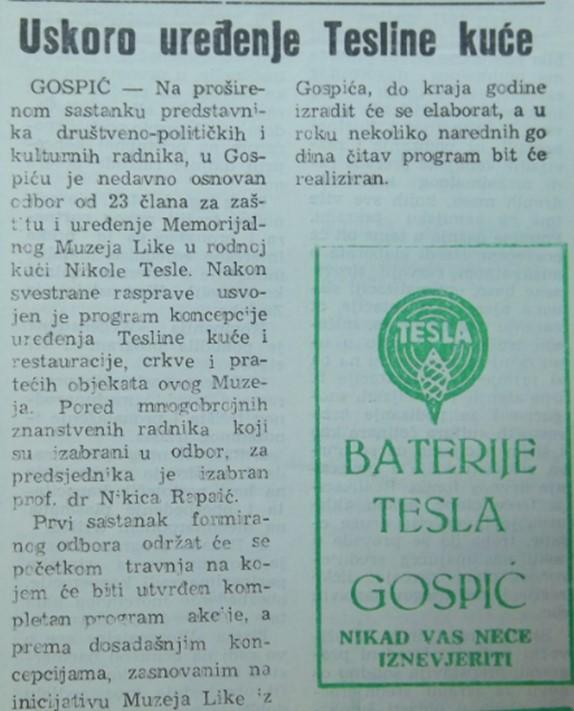 tekst iz Ličkih novina o obnovi pravoslavne crkve u Smiljanu